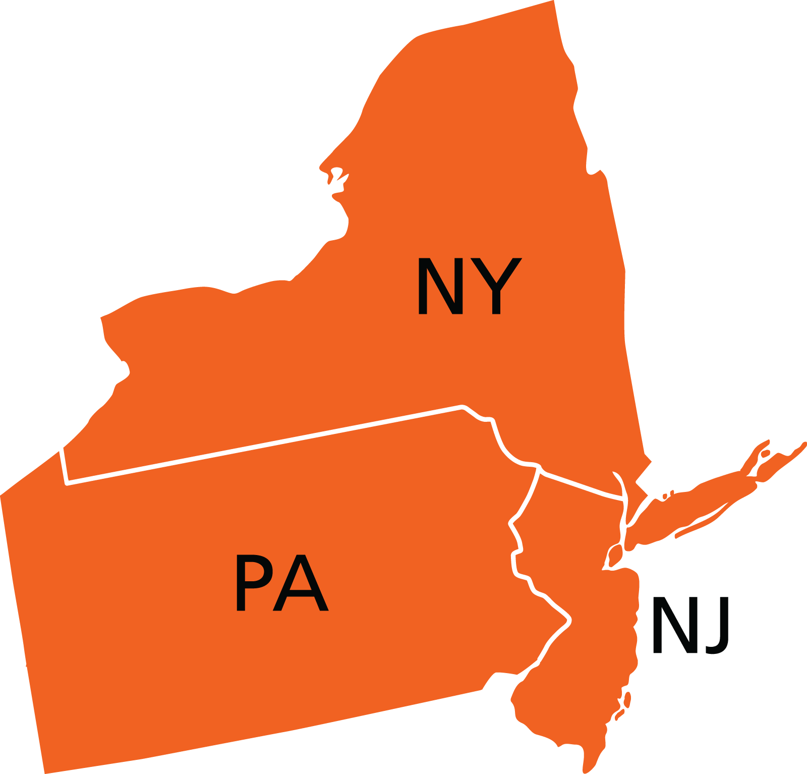 tri-state map illustration - best insurance agency located in cliffside park new jersey